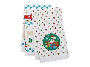 St Nicholas Square Kitchen Towel Set Christmas Puppy Dogs 2 Towels