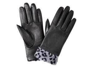 Merona Womens Black Leather Gloves with Gray Leopard Print Cuff