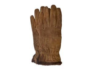 Isotoner Womens Brown Suede Gloves With Gathered Wrists & Microluxe Linings