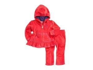 Puma Infant Girls 2 Piece Red Velour Jacket & Pants Set Baby Hoodie Track Suit