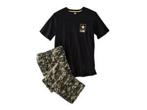 Mens Army 2 Piece Sleep Set Fleece Lounge Pants & T-Shirt Pajamas