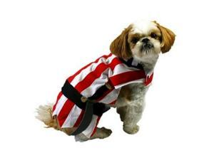 Pirate Dog Costume Red Striped Halloween Pet Outfit XS