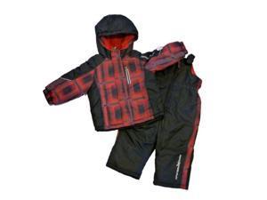 Zero Xposur Infant & Toddler Boys Red Plaid Snow Bibs & Coat Snowsuit