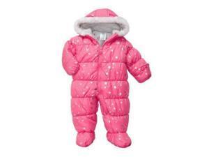 Carters Infant Girls Pink Foil Stars Snowsuit Baby Pram Snow Suit