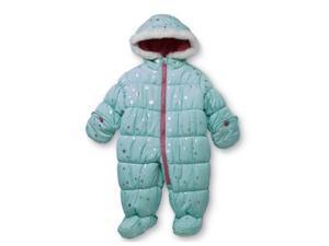 Carters Infant Girls Mint Green Foil Stars Snowsuit Baby Pram Snow Suit