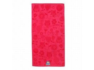 Shopko Bright Pink Owl Print Plush Cotton Beach Towel 32x63