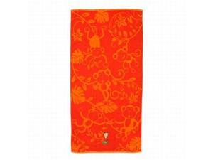 Shopko Bright Orange Monkey Print Plush Cotton Beach Towel 32x63