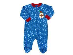 Faded Glory Infant Boys & Girls Blue Polka Dot Snowman Sleeper Holiday Pajamas