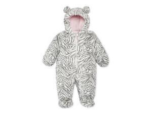 Carters Infant Girls Plush Gray & White Zebra Snowsuit Baby Pram Snow Suit