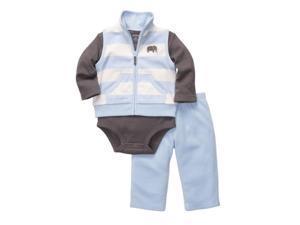 Carters Infant Boys 3 Piece Fleece Elephant Outfit Sweat Pants Creeper & Vest