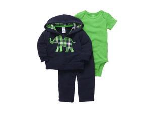 Carters Infant Boys Blue Elephant Outfit Sweat Pants Creeper & Jacket Hoodie