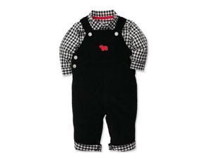 Carters Infant Boys 2 Piece Outfit Black Bear Corduroy Overalls & Plaid Shirt