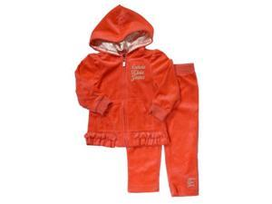 Calvin Klein Infant Girls Salmon Red Velour Jacket & Pants Set Baby Track Suit