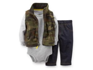 Carters Infant Boys 3 Piece Camouflage Outfit Jean Pants Creeper & Jacket Vest