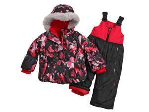 Zero Xposur Infant & Toddler Girls Black Floral Snow Bibs & Fur Coat Snowsuit