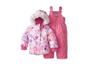 Zero Xposur Infant & Toddler Girls Pink Floral Snow Bibs & Fur Coat Snowsuit