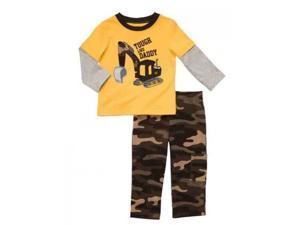Carters Infant Boys Outfit Mock Layered Yellow Bulldozer T-Shirt & Camo Pants