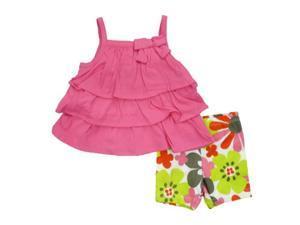 Carters Infant Girls Pink Ruffled Shirt & Flower Shorts 2 Piece Set