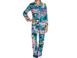 Womens Betty Boop Pajamas Blue Fleece Pajama Set XL