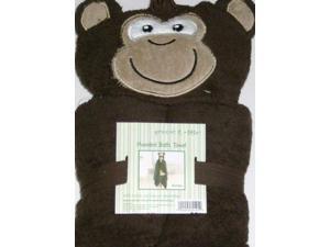 Peanut & Ollie Hooded Monkey Bath Towel Child Size 100% Cotton Brown Gorillia