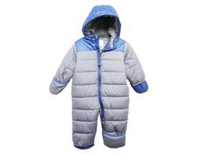 Carters Infant Boys Gray & Blue Quilted Snowsuit Baby Pram Snow Suit