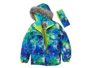 Zero Xposur Girls Green & Blue Cosmic Coat Puffer Snowboard Jacket & Headband