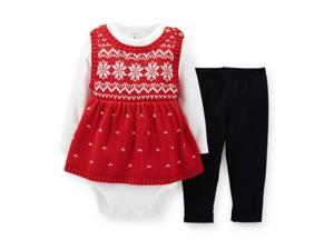 Carters Infant Girls Red Knit Snowflake Sweater Shirt & Leggings 3 Piece Set