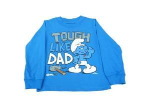 Smurfs Hefty Tough Like Dad Toddler Boys Blue Long Sleeve T-Shirt