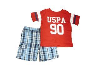 Polo USPA 90 Infant & Toddler Boys 2 Piece Red T-Shirt & Blue Plaid Shorts Set