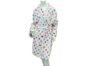 Covington Womens White Polka Dot Robe Fleece Tie Front Short House Coat Bathrobe