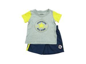 Converse All Star Infant Boys Gray Yellow Shirt & Navy Blue Mesh Shorts Set