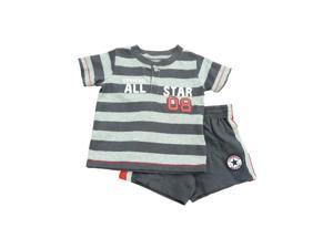 Converse All Star Infant & Toddler Boys Gray Striped Shirt & Shorts Set
