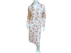 Croft & Barrow Womens White & Red Floral Nightgown Collared Sleepshirt XXL