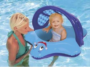 Swim Ways Sun Canopy Baby Blue Star Fish Boat Style Infant Pool Float