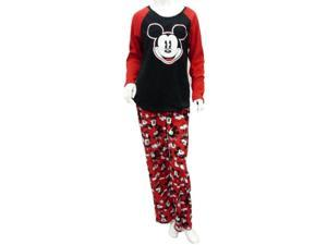 Disney Womens Mickey Mouse Red & Black Pajamas Fleece Sleep Set PJs