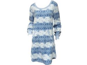 Soft Sensations Womens Blue Snowflake Fleece Sleep Shirt Stretch Nightgown