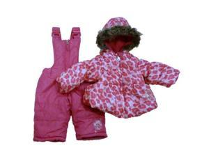 Pacific Trail Infant & Toddler Girls Pink Leopard Snowsuit Ski Bibs & Coat Set