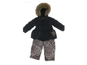 Pacific Trail Infant & Toddler Girls Black Leopard Snowsuit Ski Bibs & Coat Set