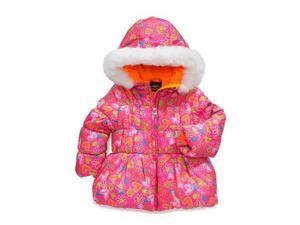 Pacific Trail Girls Pink Floral Winter Coat Fur Trim Puffer Ski Jacket
