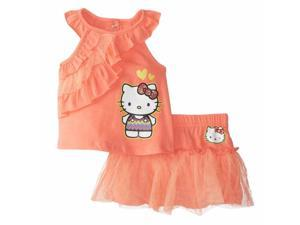 Hello Kitty Infant Girls Peachy Orange Sleeveless Shirt & Skirt 2 Piece Outfit