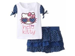 Hello Kitty Infant Girls Blue & White Polka Dot Shirt & Skirt Set 2 Piece Outfit