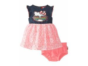 Hello Kitty Infant Girls Pink Ruffled Lace Dress Outfit 2 Piece Set