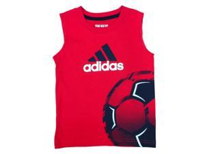 Adidas Toddler & Little Boys Red Sleeveless Soccer Shirt Athletic Shirt