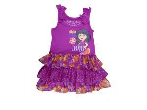 Nickelodeon Girls Hola! Dora Purple Dress Sleeveless Ruffled Chiffon Sundress