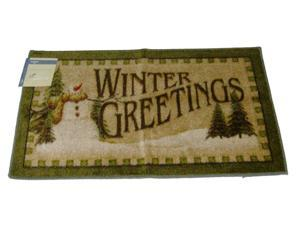 Mohawk Winter Greetings Rustic Snowman Throw Accent Rug Green with Non-Skid Back