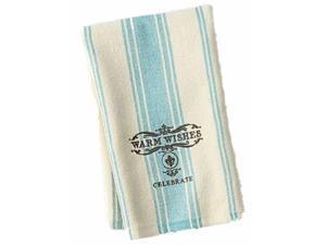 St Nicholas Square Holiday Kitchen Towel Set Blue Stripe Warm Wishes 2 Towels