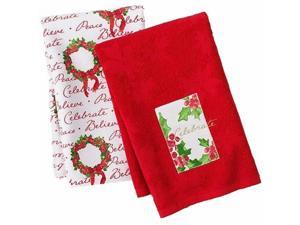 St Nicholas Square Christmas Holly Kitchen Towel Set Floral Wreath Celebrate