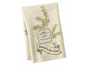 St Nicholas Square Holiday Kitchen Towel Set Beige Joy Patch 2 Towels