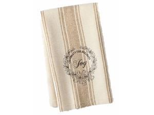St Nicholas Square Holiday Kitchen Towel Set Tan Joy Stripe 2 Towels