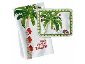 St Nicholas Square Palm Tree Christmas Kitchen Towel & Potholder Set Pot Holder